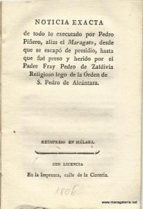 """Gacetilla sobre Pedro Piñeiro """"el Maragato"""""""