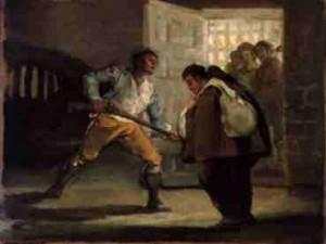 El Maragato prende al Fray Pedro de Zaldivia. Cuadro de Goya