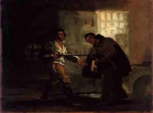 Fray Pedro de Zaldivia le da las botas. Cuadro de Goya